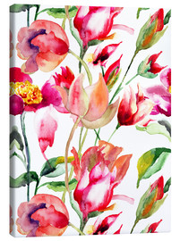 Canvas print  Summer flowers in watercolor