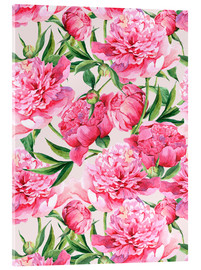 Acrylic glass  Pink peonies in watercolor