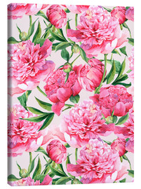 Canvas  Pink peonies in watercolor