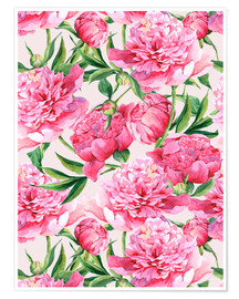Premium poster Pink peonies in watercolor