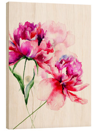 Wood print  Beautiful peony flowers