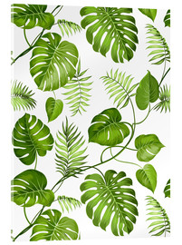 Acrylic glass  Monstera and palms
