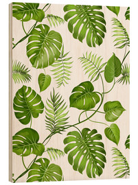 Wood print  Monstera and palms