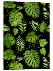 Acrylic glass  Monstera with palms