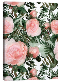 Canvas  Pink Peonies textured