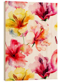 Wood print  Lily flowers in watercolor