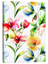 Canvas print  Wildflowers in Watercolor