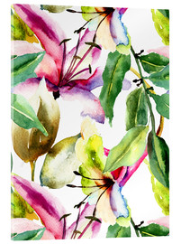 Acrylic print  Lilies in watercolor