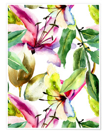 Premium poster  Lilies in watercolor