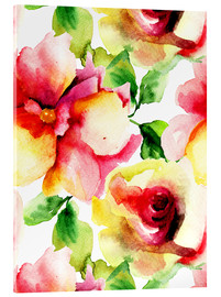 Acrylic print  Watercolor painting with rose petals