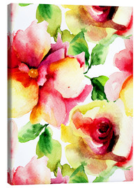 Canvas print  Watercolor painting with rose petals