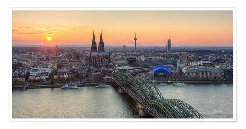 Premium poster Panorama view of Cologne at sunset