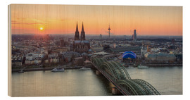 Wood print  Panorama view of Cologne at sunset - Michael Valjak