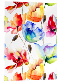 Acrylic print  Poppies and tulips