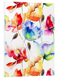 Foam board print  Poppies and tulips in watercolor