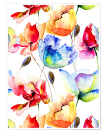 Premium poster  Poppies and tulips in watercolor