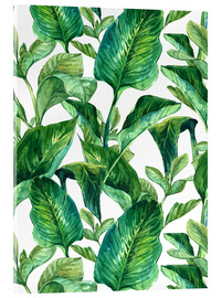 Acrylic print  Tropical Leaves in Watercolor