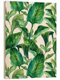 Wood  Tropical Leaves in Watercolor