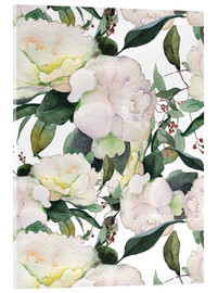 Acrylic print  White peonies in watercolor