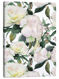Canvas  White Peony in watercolor