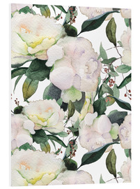 Foam board print  White peonies in watercolor