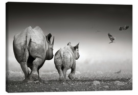 Canvas print  Rhino cow with calf - Johan Swanepoel