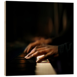 Wood print  Close-up of a pianist's hands playing the piano - Johan Swanepoel