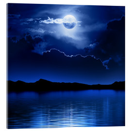 Acrylic print  Fantasy moon and clouds over water - Johan Swanepoel