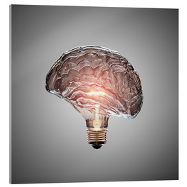Acrylic glass  Conceptual light bulb brain illustrated - Johan Swanepoel