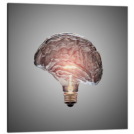 Aluminium print  Conceptual light bulb brain illustrated - Johan Swanepoel