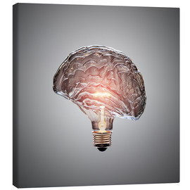 Canvas print  Conceptual light bulb brain illustrated - Johan Swanepoel