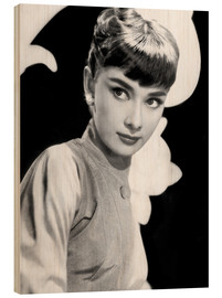 Wood print  Audrey Hepburn in 1954