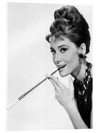 Acrylic print  Audrey Hepburn with cigarette holder