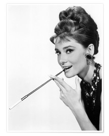 Premium poster Audrey Hepburn with cigarette holder