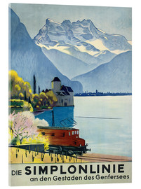 Acrylic print  Simplon line - train ride around Lake Geneva. - Emil Cardinaux