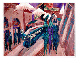 Poster  Leipziger Strasse with electric train - Ernst Ludwig Kirchner