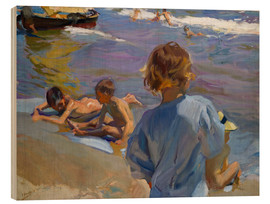 Wood print  Children at the beach - Joaquin Sorolla y Bastida