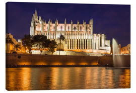 Canvas  Cathedral of Palma de Mallorca at night - Christian Müringer