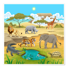 Premium poster  African animals in a savannah - Kidz Collection