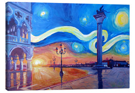 Canvas print  Starry Night in Venice Italy San Marco with Lion - M. Bleichner