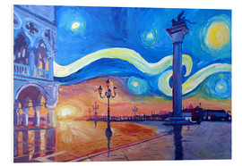 Foam board print  Starry Night in Venice Italy San Marco with Lion - M. Bleichner