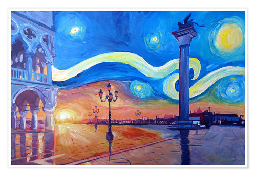 Starry Night In Venice Italy San Marco With Lion Posters And Prints Posterlounge Com