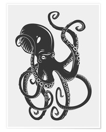 Poster  Black octopus