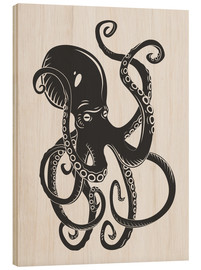Wood  Black octopus