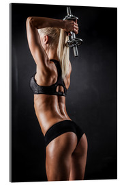 Acrylic print  Athletic woman with dumbbells