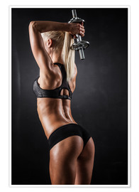Poster  athletic woman with dumbbells