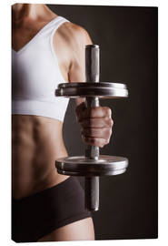 Canvas print  Sportswoman with Dumbbell