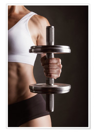 Premium poster  Sportswoman with Dumbbell