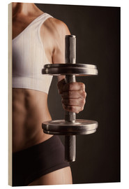 Wood print  Sportswoman with Dumbbell
