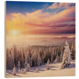 Wood print  snowy forest in the Alps